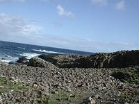 朝、無人の六角岩